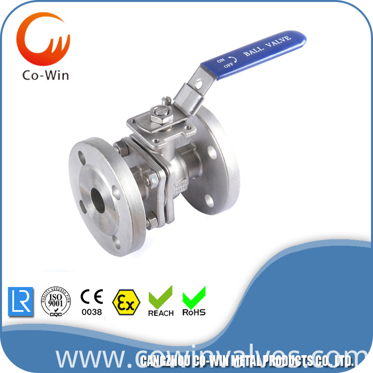 Stainless steel 2pc flanged ball valve