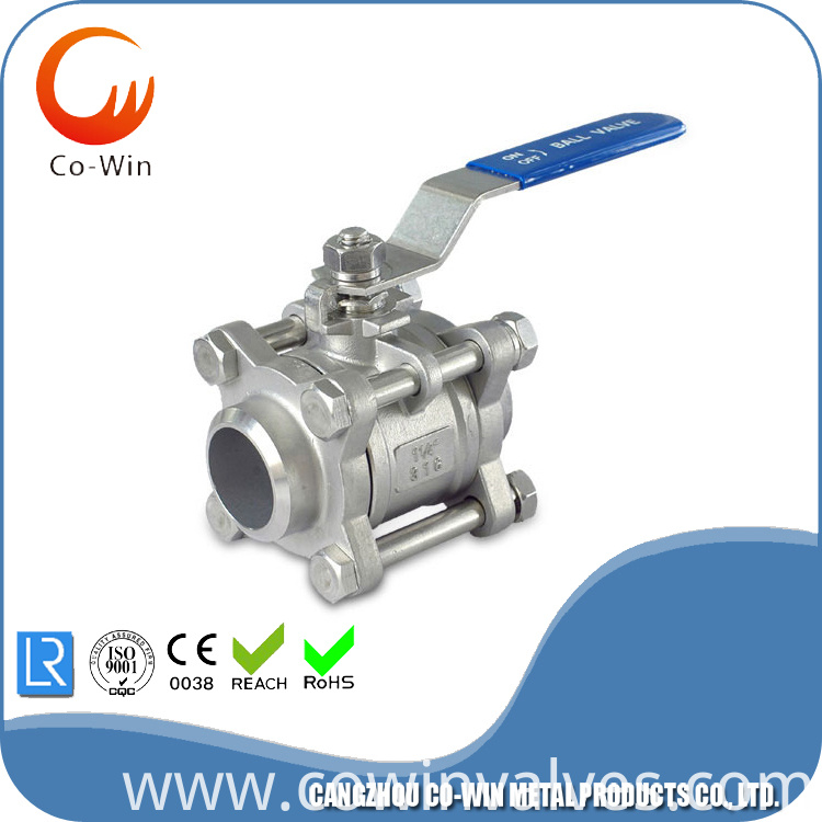 Stainless Steel 3pc Ball Valve CF8/CF8M