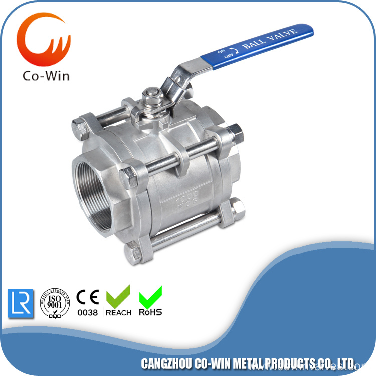 Stainless Steel 3pc Ball Valve CF8 / CF8M