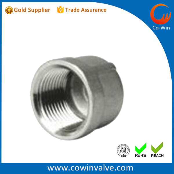 stainless steel pipe fittings round cap 150lbs