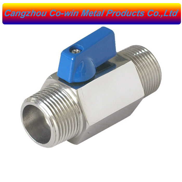 Mini ball valve with blue handle