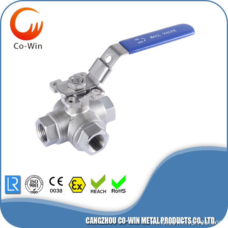 Precision Casting 3Way Mounting Pad Ball Valve